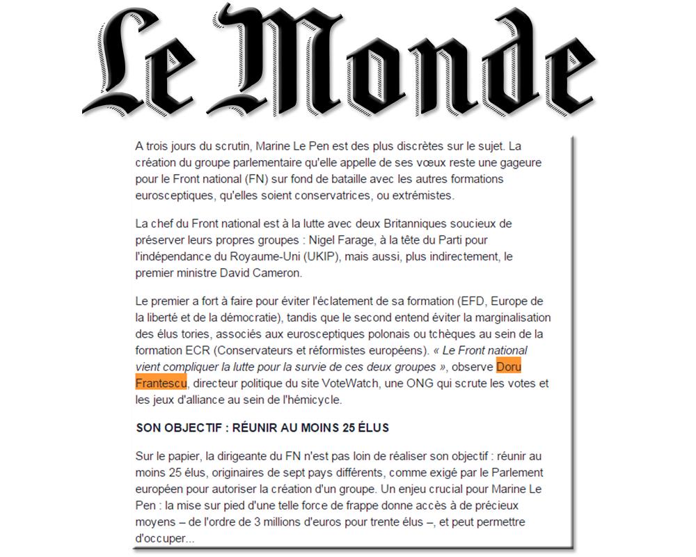 Doru Frantescu in Le Monde