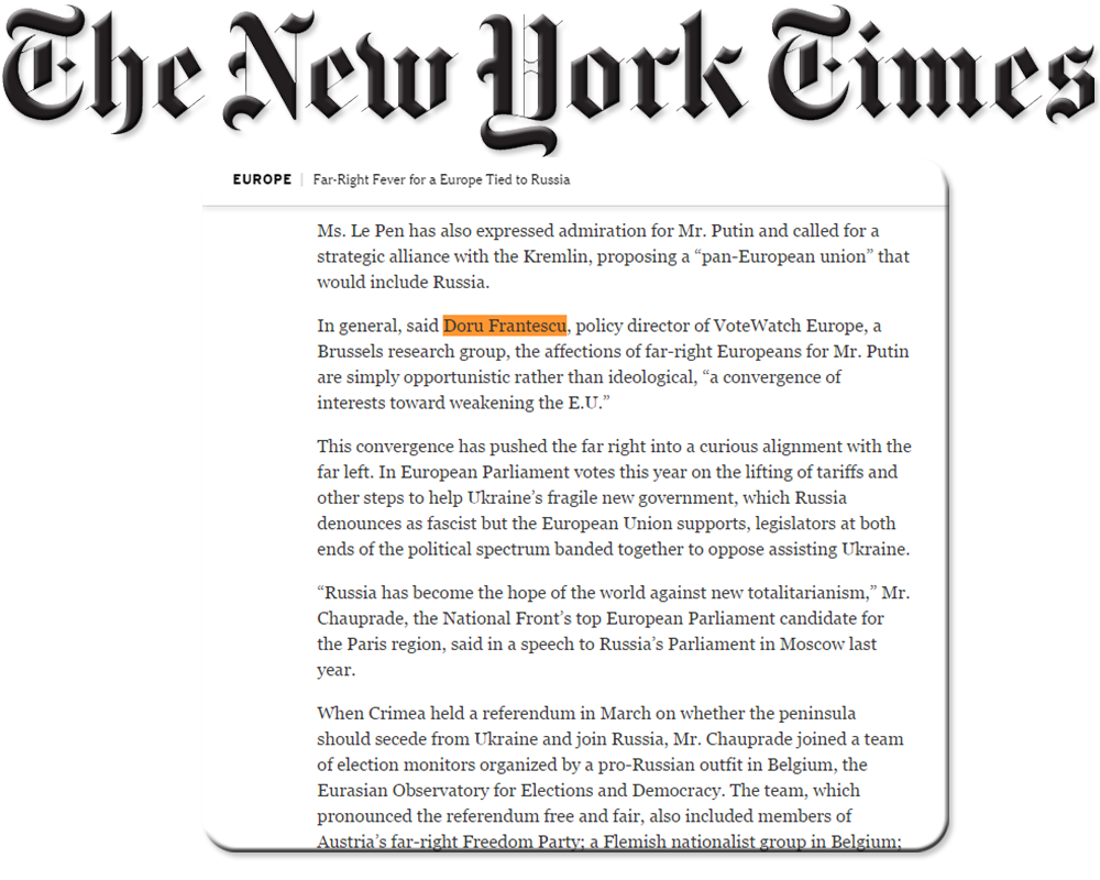 Doru Frantescu in the New York Times